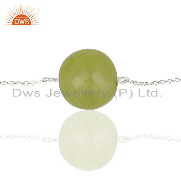 Suppliers Solid 925 Sterling Silver Traditional Handmade Dyed Chalcedony Chain Bracelet