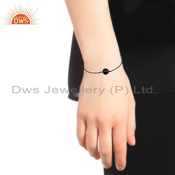 Suppliers Smoky Quartz Gemstone Black 925 Silver Unisex Chain Bracelet Wholesale