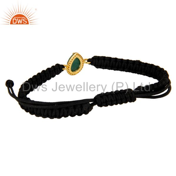 Suppliers 18K Gold Sterling Silver Pave Diamond And Emerald Black Cord Macrame Bracelet