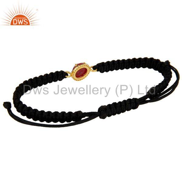 Suppliers 18K Gold Sterling Silver Pave Diamond And Ruby Black Cord Macrame Bracelet