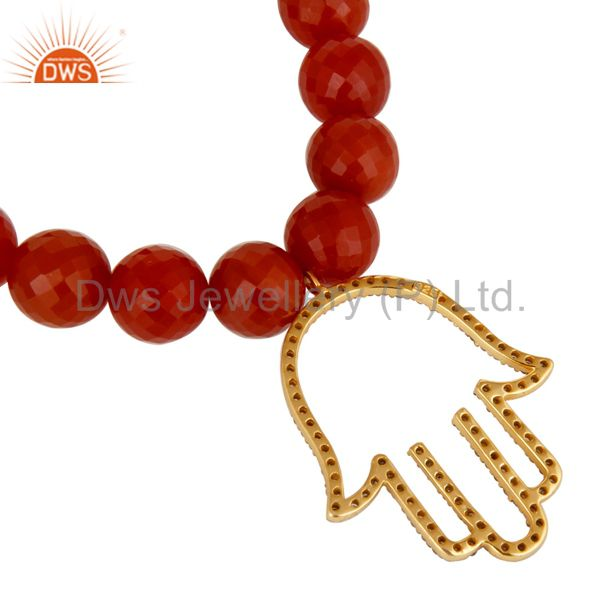 Suppliers 18k Gold Plated Sterling Silver Hand Design Diamond & Red Onyx Charms Bracelet