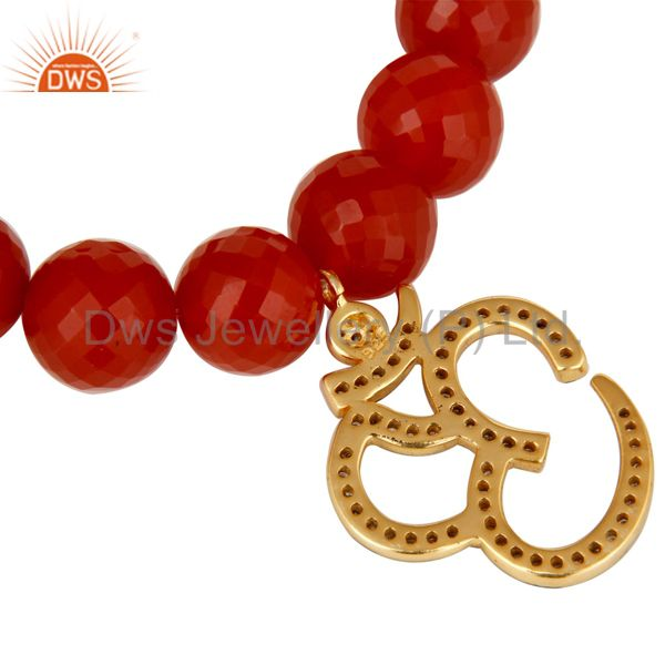 Suppliers 18k Gold Plated Sterling Silver God Symbal Design Diamond & Red Onyx Bracelet