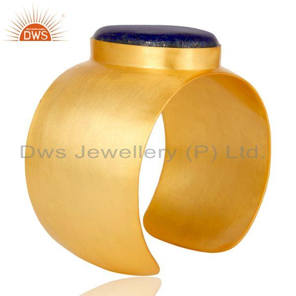 Suppliers Traditional Handmade 22K Gold Plated Wide Lapis Lazuli Openable Brass Bangle