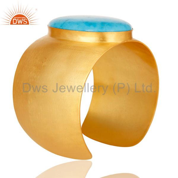 Suppliers Traditional Handmade 22K Gold Plated Natural Turquoise Openable Brass Bangle