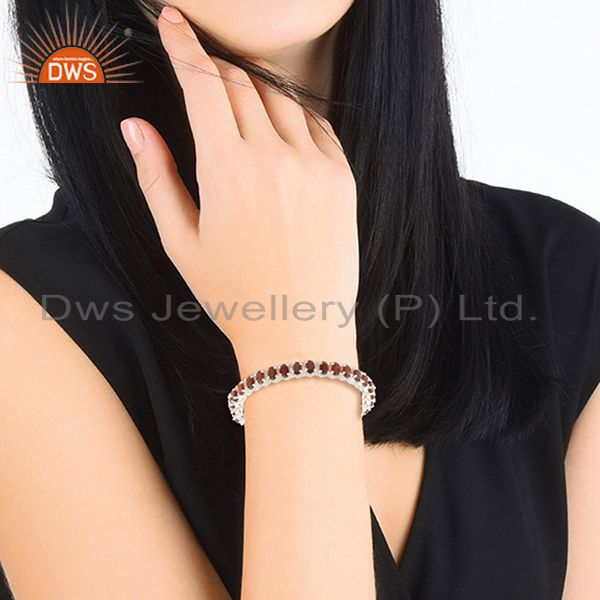 Suppliers Natural Garnet Gemstone 925 Sterling Silver Single Strand Bracelet Wholesale