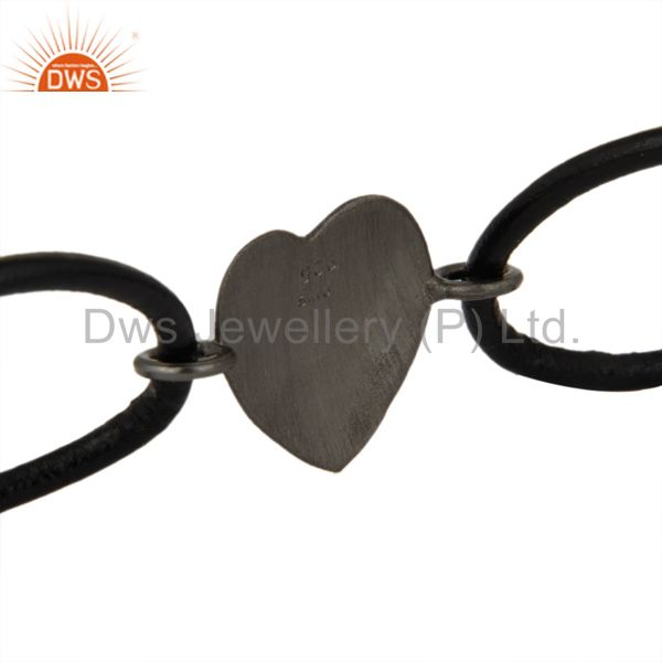Suppliers Oxidized Solid Sterling Silver Peace Sign Black Cord Macrame Bracelet Jewelry