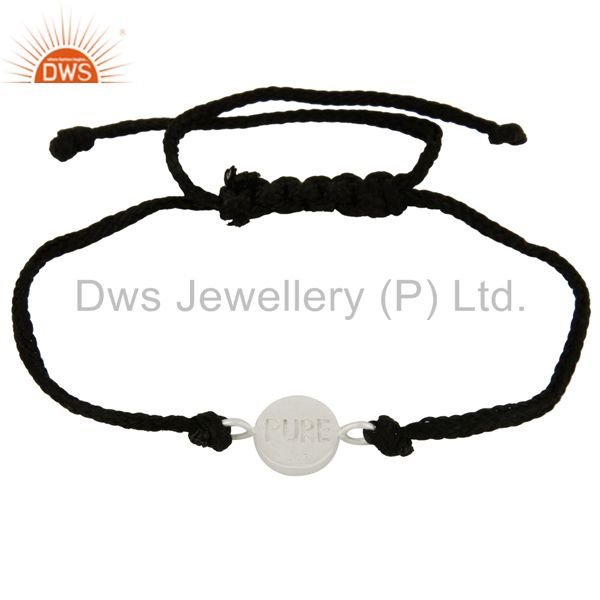 Suppliers Handmade Solid Sterling Silver Simple Designer Charms Macrame Bracelet