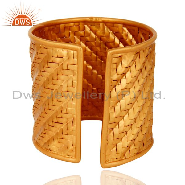 Suppliers Handmade Wire Mesh Gold Plated Sterling Silver Cuff Bangle Wholesaler