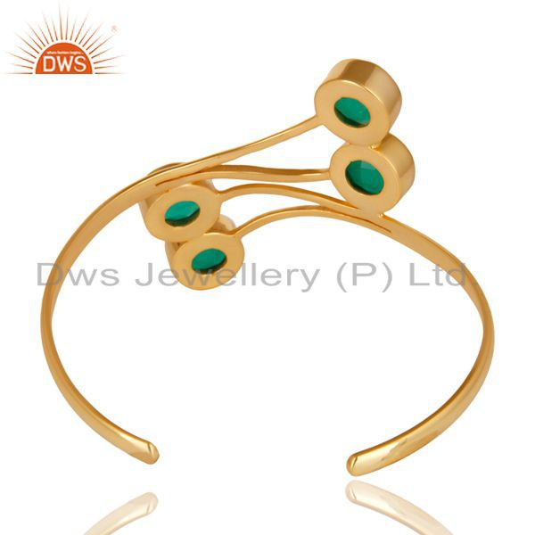 Suppliers 14K Gold Plated 925 Sterling Silver Handmade Green Onyx Wide Cuff Jewelry