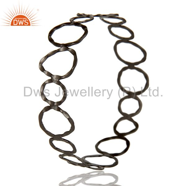 Manufacturer of Black oxidized sterling silver hammered open circle wide bangle