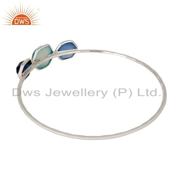 Manufacturer of Turquoise blue corundum chalcedony handmade bangle sterling silver