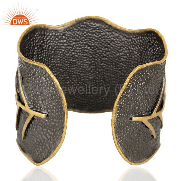 Suppliers Traditional Handmade Leaf Design 14K Gold Plated Textured Fashion Cuff Bangle