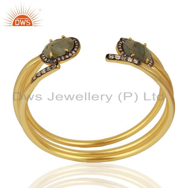 Suppliers Handmade Gold Plated Labradorite Gemstone CZ Fashion Bangle Jewelry