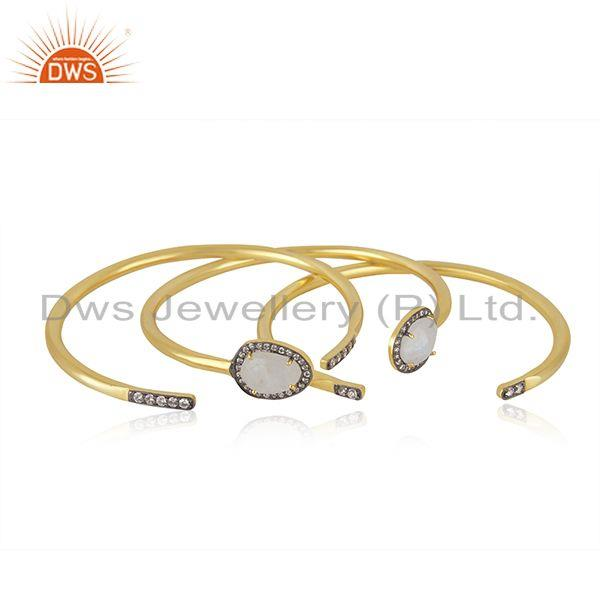 Suppliers CZ Rainbow Moonstone Gold Plated Fashion 3 Cuff Bangle Set Jewelry