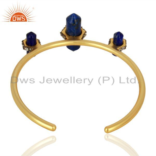 Wholesalers of Natural lapis gemstone gold plated fashion cuff bangle manufacturer