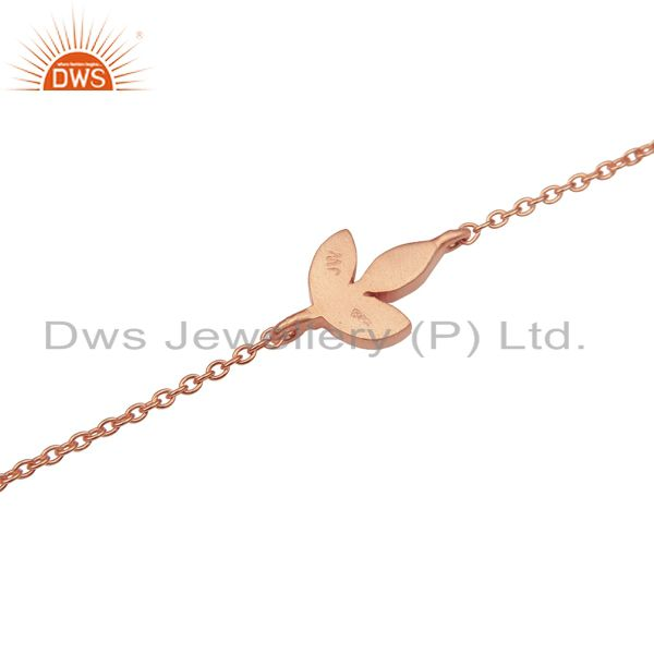 Suppliers 14K Rose Gold Plated 925 Sterling Silver Handmade Design Chain Bracelet Jewelry