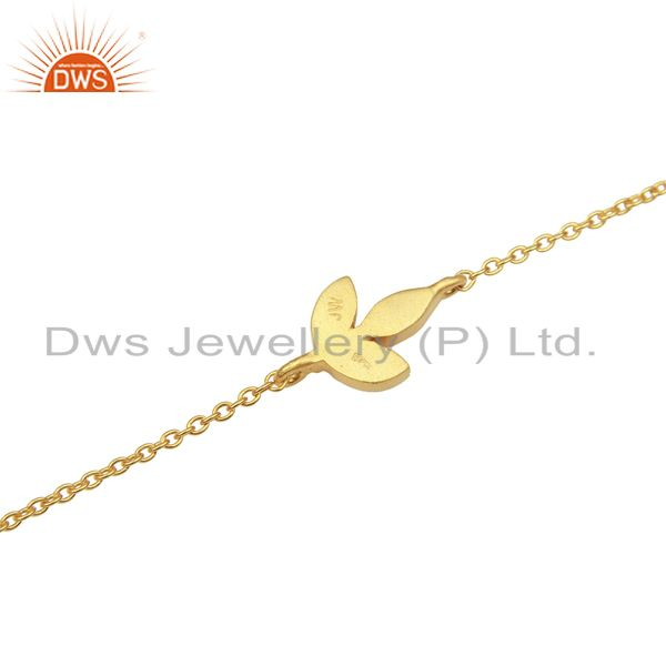 Suppliers 14K Yellow Gold Plated Sterling Silver Handmade Design Chain Bracelet Jewelry