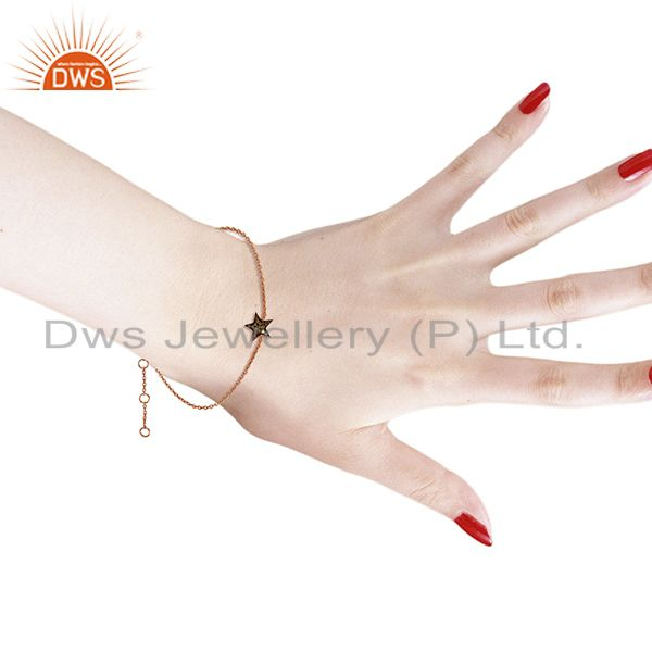 Suppliers Star Design Pave Diamond Silver Chain Bracelet Jewelry Supplier