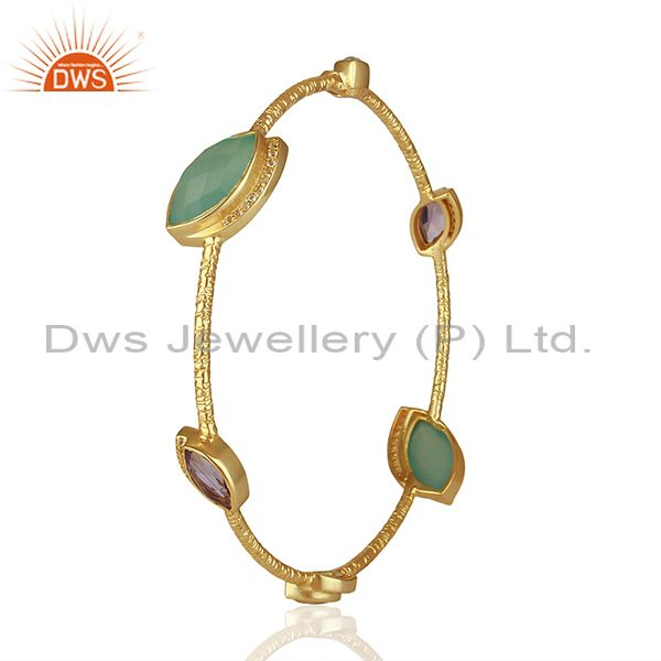 Wholesalers of Chalcedony and cz gemstone gold plated silver bangle manufacturer