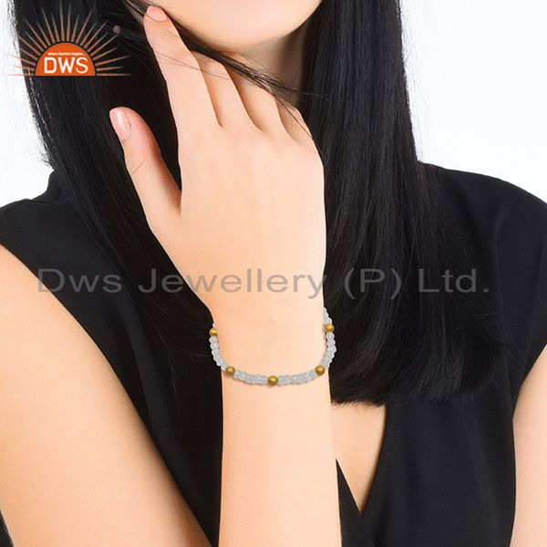 Suppliers Beaded Crystal Quartz and Round 925 Silver Beads Bracelet Manufacturer