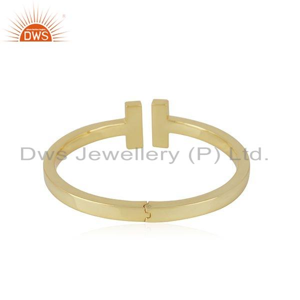 Suppliers Indian 18k Gold Plated 925 Sterling Plain Silver Cuff Bangle Jewelry