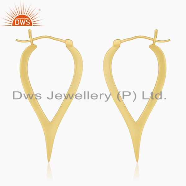 Suppliers 18K Yellow Gold Plated Sterling Silver Cut Out Design Hoop Earrings