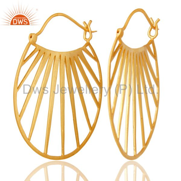 Suppliers 18K Yellow Gold Plated Traditional Handmade Art Deco Wide Brass Earring Jewelry