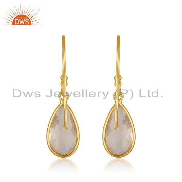 Suppliers Crystal Quartz Gold Plated 925 Silver Gemstone Drop Earring Manufacturer India