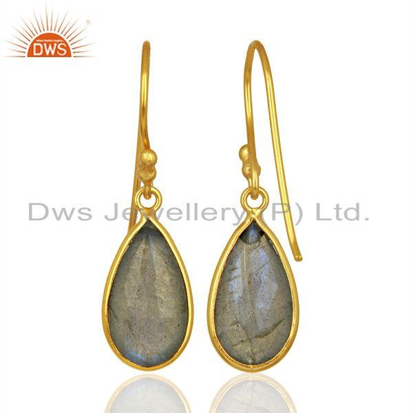 Suppliers Labradorite Gemstone Gold Plated Designer Silver Earrings Jewelry