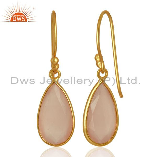 Suppliers Rose Chalcedony Gemstone Earrings Gold Plated 925 Silver Earrings