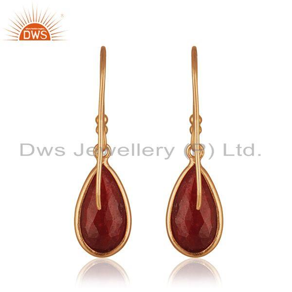 Suppliers Corundum Ruby Gemstone Rose Gold Plated 925 Silver Drop Earring Wholesaler India