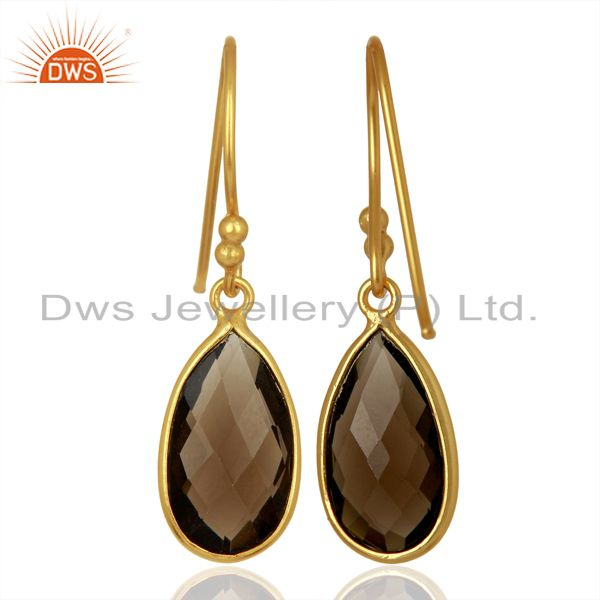 Suppliers Indian Gold Plated Silver Smoky Quartz Gemstone Earrings Jewelry