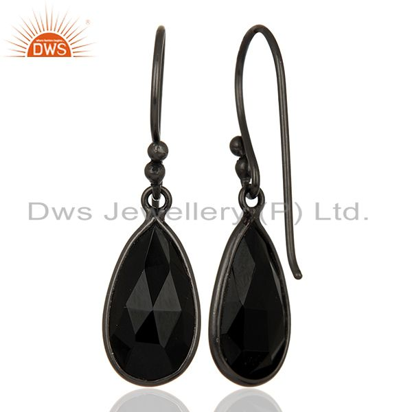 Suppliers Natural Black Onyx Gemstone Black Rhodium Plated Earring Manufacturer