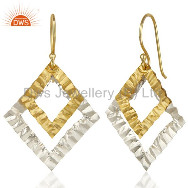 Suppliers 18K Yellow Gold Plated Brass Hammered Open Circle Dangle Brass Earrings