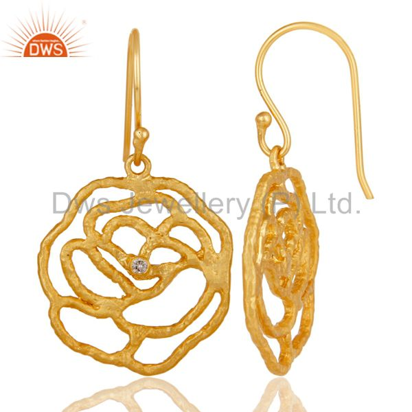 Suppliers 22K Yellow Gold Plated Brass Cubic Zirconia Womens Designer Dangle Earrings
