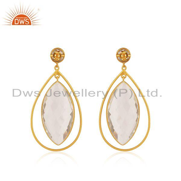 Suppliers 18K Yellow Gold Plated Natural Quartz Crystal Sterling Silver Tear Drop Earrings