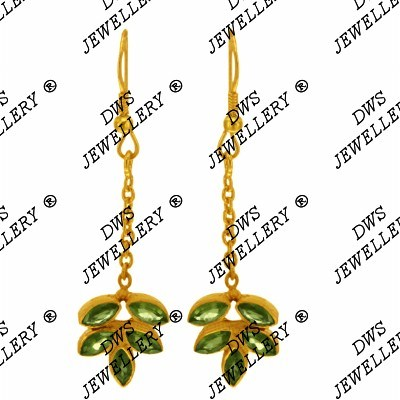 Suppliers 18K Yellow Gold Plated Sterling Silver Peridot Designer Dangle Earrings
