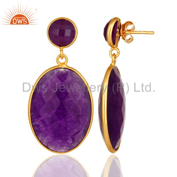 18K Gold Over Sterling Silver Purple Chalcedony Faceted Gemstone Drop Earrings From Jaipur India