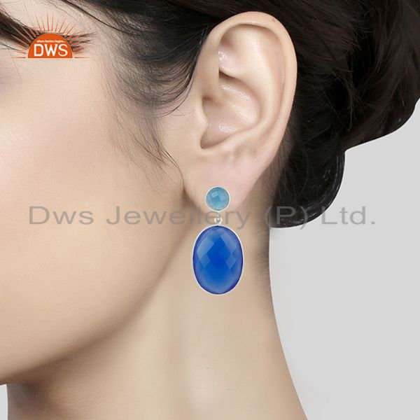 Suppliers Solid 925 Sterling Silver Faceted Blue Chalcedony Bezel Set Drops Earrings