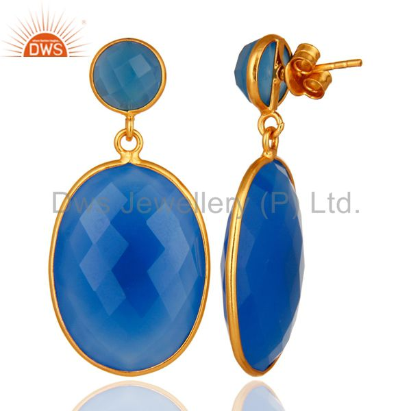 Suppliers Sterling Silver Faceted Blue Chalcedony Bezel Set Drop Earrings Gold Plated