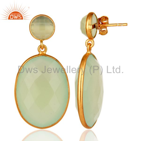 Sterling Silver Faceted Green Prehnite Gemstone Bezel Drop Earrings - Gold V From Jaipur India