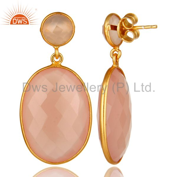 Suppliers Faceted Rose Chalcedony Gemstone Drop Earrings Made In 18K Gold Over Silver