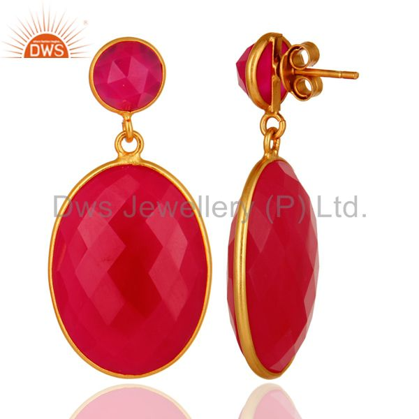 Faceted Pink Chalcedony Drop Bezel Earrings In 18K Gold Over Sterling Silver From Jaipur India