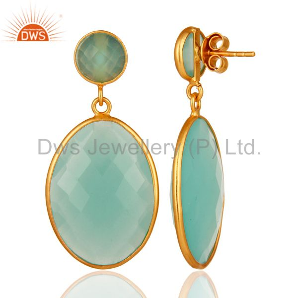 Suppliers Aqua Chalcedony Gemstone Silver Gold Plated Drop Earrings Jewelry