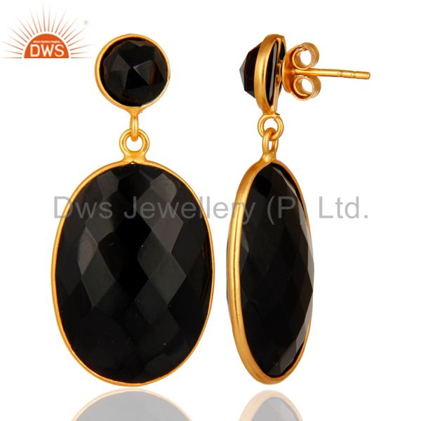 Suppliers Black Onyx Faceted Gemstone Sterling Silver Bezel-Set Earrings - Gold Plated