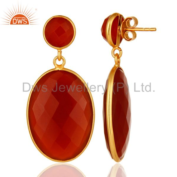 Suppliers 925 Sterling Silver Faceted Gold Plated Red Onyx Gemstone Drop Earrings