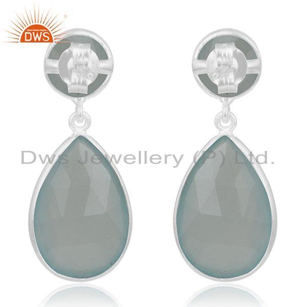 Suppliers Aqua Chalcedony Gemstone 925 Sterling Silver Simple Earring Manufacturer Jewelry