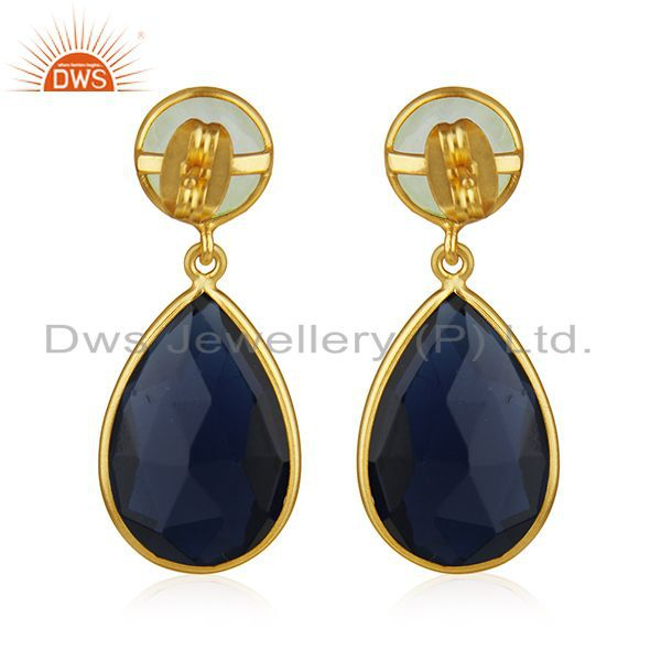 Suppliers Gold Plated Brass Fashion Gemstone Earring Manufacturer of Wedding Jewelry