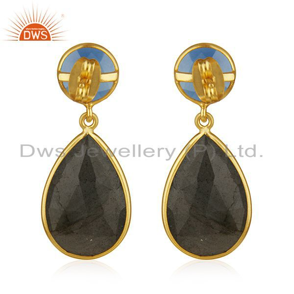Suppliers Labradorite and Blue Chalcedony Gemstone Gold Plated Fashion Earring Suppliers