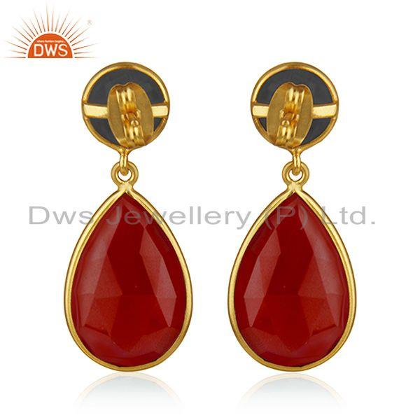 Suppliers Onyx Red and Corundum Blue Gold Plated Brass Fashion Gemstone Earring Wholesaler